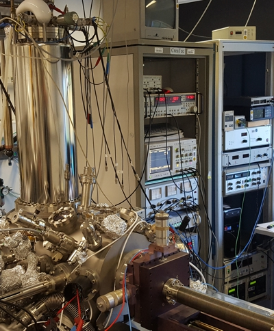 Our UHV-LT-SPM in the lab.